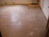 Before dustless sanding and wood floor refinishing.