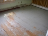 Wood floors covered in paint.