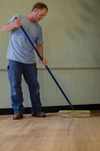 Applying new finish to hardwood floors